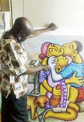 Zacharia Mbutha in his studio, 2013