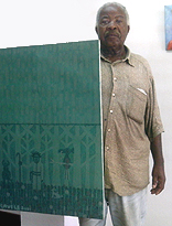 Estevao Mucavele  at his studio